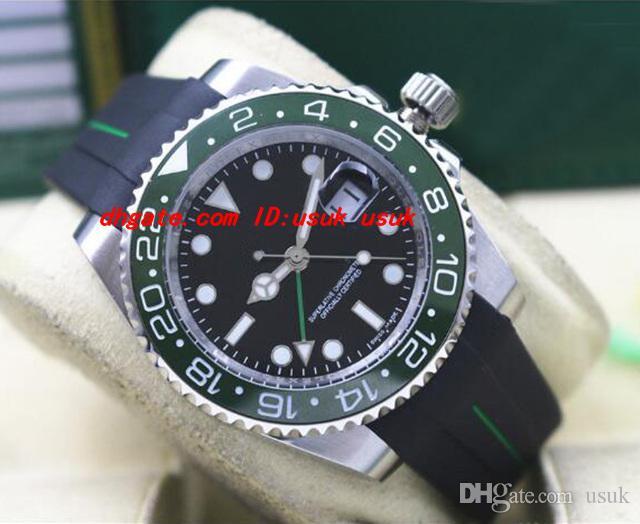 Top Quality Luxo 40mm 18 K Branco Pulseira De Borracha De Ouro II Cerâmica Verde Moldura Mostrador Preto # 116718 Garantia Mecânica Homens Relógios