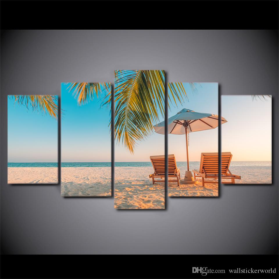5 Panel Framed HD Printed Summer Beach Landscape Poster Art Canvas Oil Painting Wall Pictures For Living Room Artwork