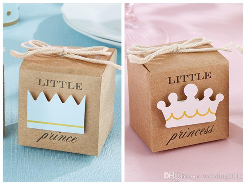 Baby Shower Favors of Little Prince Kraft Favor Boxes För Baby Födelsedag Party Presentförpackning Och Baby Decoration Present 100PCs / Lot Gratis frakt