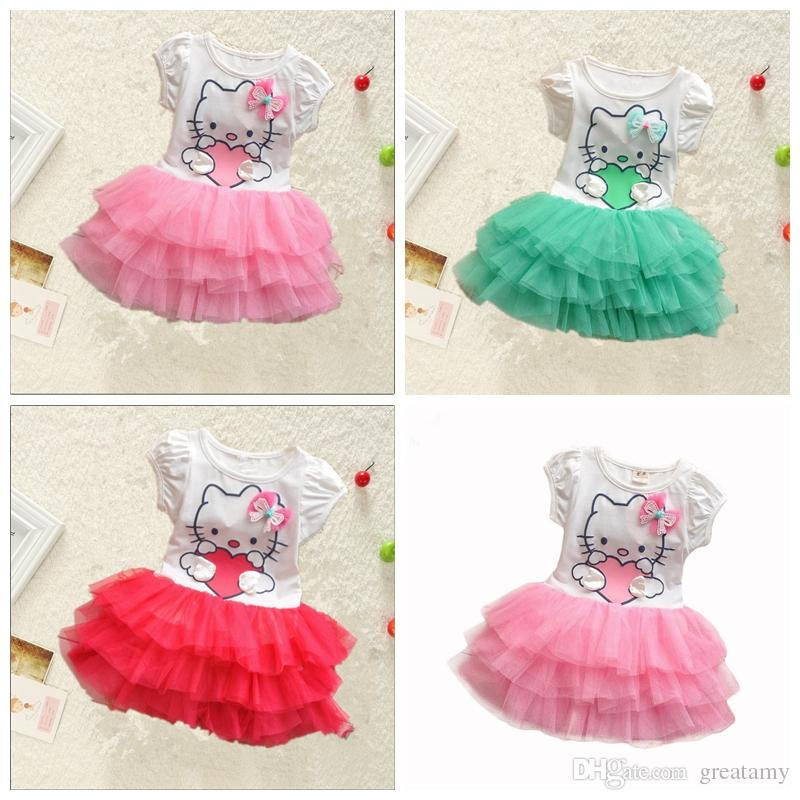 2ae2c0ca5 Cute Baby Girls Hello Kitty Dress Kids Summer Short Sleeves Tutu Princess  Dresses Baby Clothes Lace ...
