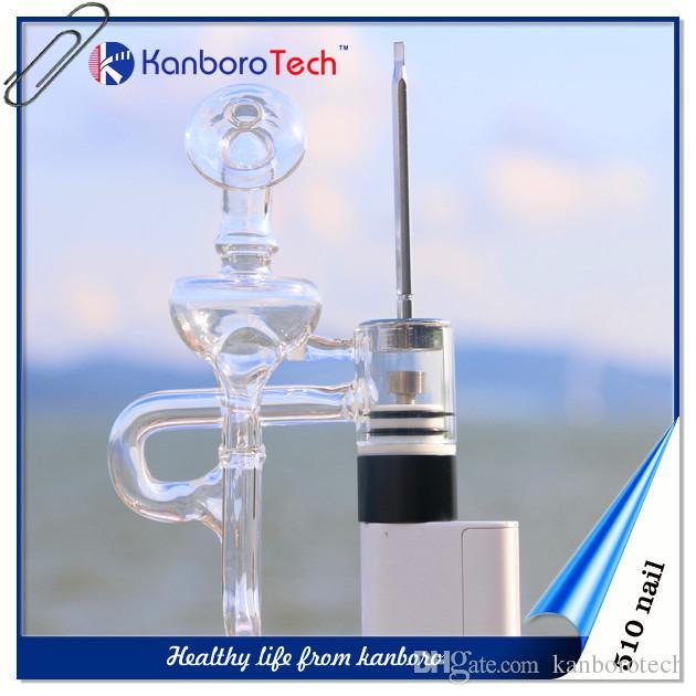 510 KNail Atomiseur cire pour Vaporizer Vaping clou en titane céramique Dôme en verre Bout Rond goutte à goutte de cire Vape Vaporizer E-cigarette sur la nouvelle liste.