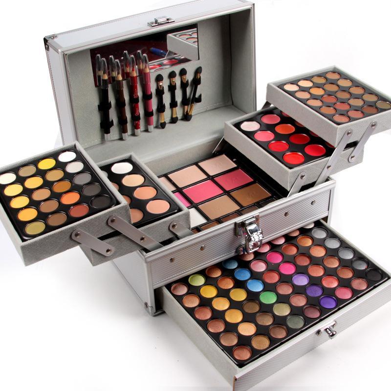 La caja de maquillaje profesional al por mayor de Miss Rose en aluminio de tres capas incluye brillo de ojos, brillo de labios, rubor para maquilladora MS067