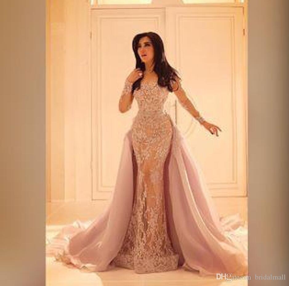 Maniche lunghe in pizzo Champagne sera della sirena abiti da Overskirt formale abiti del partito staccabile di Tulle Gonne arabo Prom Dress Robes de soirée