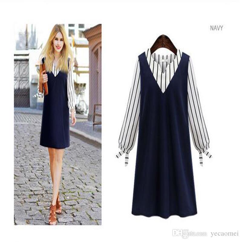 Neue Mode Übergroßen Casual Kleider V Kragen Paneled Streifen Frauen Sommer Fittness Langarm Damenbekleidung Bekleidung