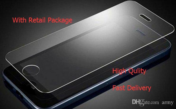 Iphone X Iphone 8 7 7 artı 6 J7 2017 LG Stylo 3 Ekran Koruyucu Film Temperli Cam Samsung S6 S7 EP Için Premium kalite Perakende Packag