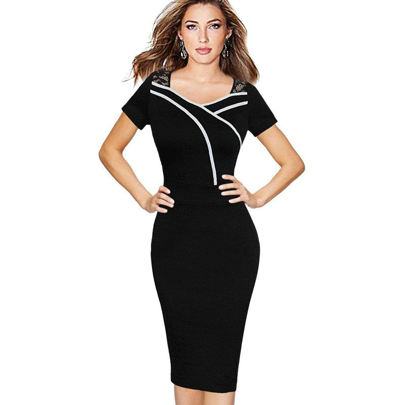 New Desi Women Vintage Sweat-heart Neck Sexy Lace Mature Short sleeve Business Bodycon Office Party Casual Pencil Work Dress