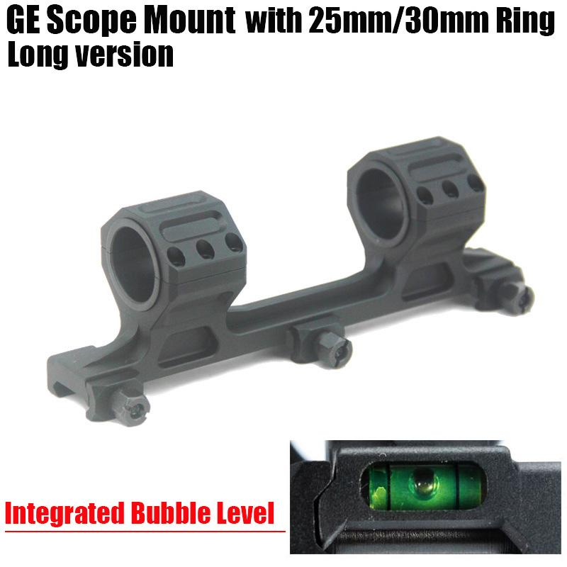 GE Hunting Rifle Scope Mount 25mm/30mm Rings AR15 M4 M16 with Integrated Bubble Level Fit Weaver Picatinny Rail Long Version Black