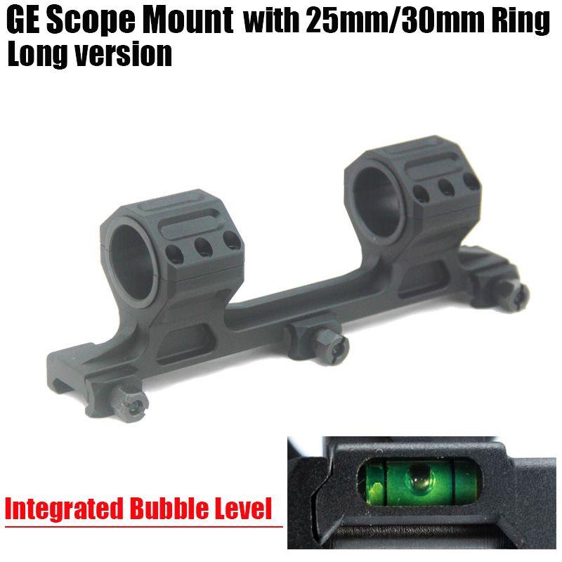 GE охота прицел крепление 25 мм / 30 мм кольца AR15 M4 M16 с интегрированным пузырьковый уровень Fit Ткач Picatinny Rail длинная версия черный