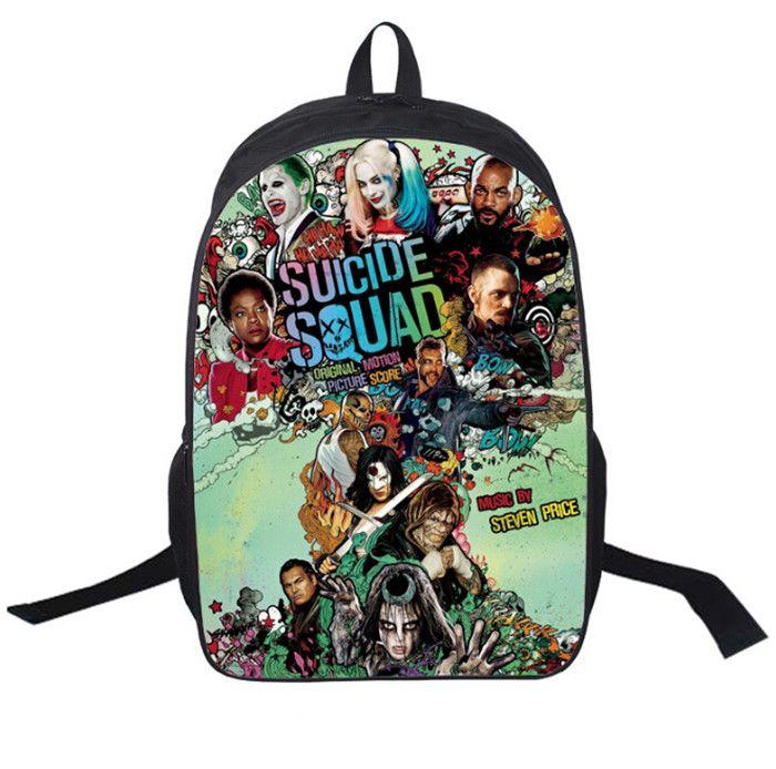 Pelotón del suicidio Harley Quinn Moda adolescentes Unisex Mochila mochilas para niños muchachos de las niñas del hombro del bolso de escuela de escolar