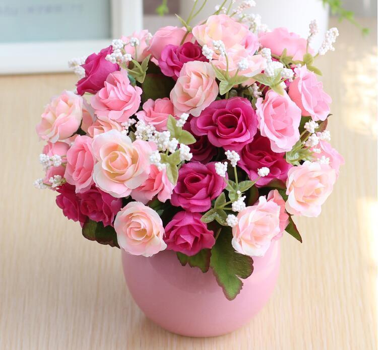 Compre Flores Artificiales Rosa Ramo De La Boda Arreglo Floral En El Hogar Flores Decorativas Con Jarrón Para Bunch Hotel Party Garden Floral