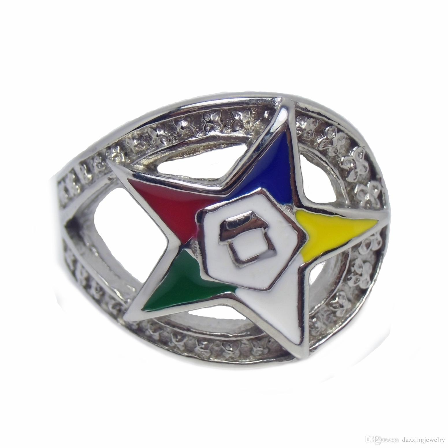 Unique Design High Quality Nevery Fade Stainless steel Women's Masonic Freemason Rings Jewelry OES Eastern Star Signet Ring Jewel