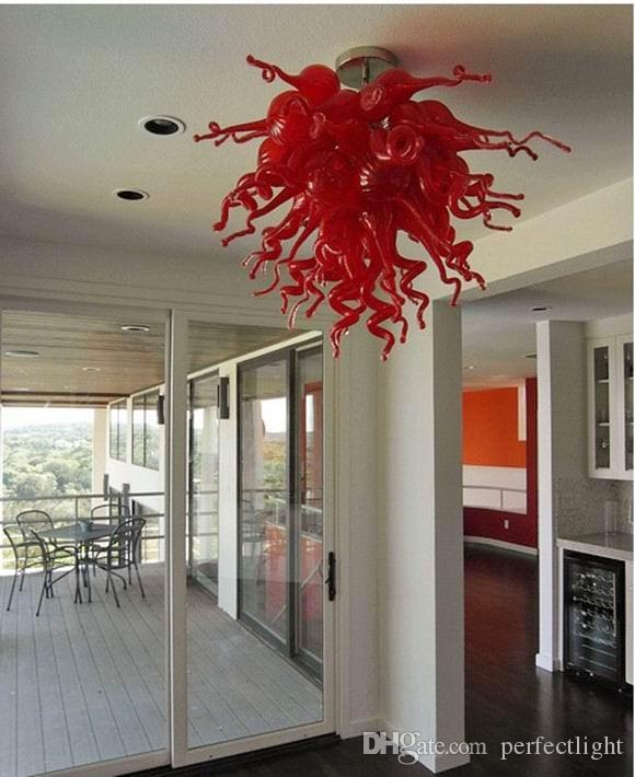 Hohe Deckenleuchten Türkisch-Art-rotes Glas Moderne Moderne heiße Verkaufs-Kristall-110V-240V LED-Lampen