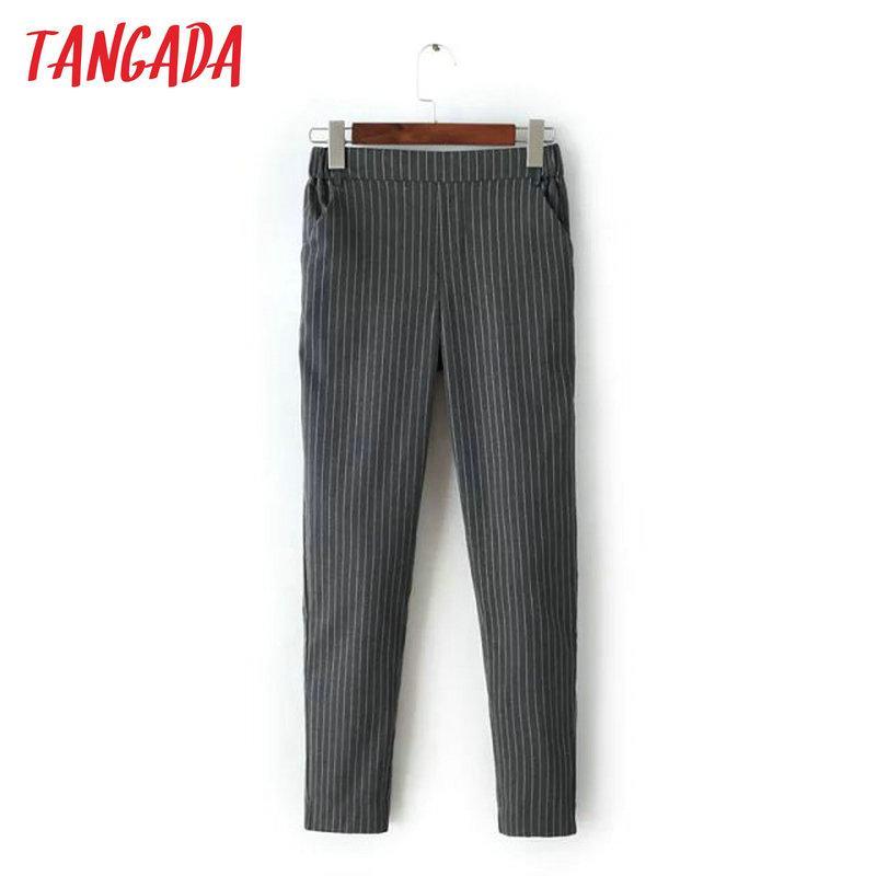 Tangada Mode Frauen Büro Elegante Grau Gestreiften Print Capris Hosen Elastische Taille Taschenhose Lässige Frau Plus Größe FA23
