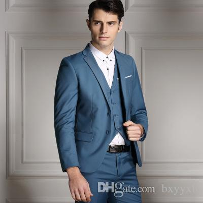 Online Cheap New Hot Customize Slim Fit Groom Tuxedos Light Gray ...