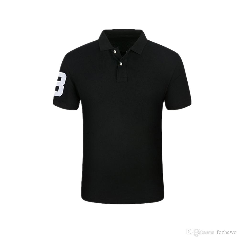 Brand Top Quality Classic Short Sleeve Solid Cotton Polo, Stand Collar Clothing Black Fashion Casual Men Polo Shirt T1686