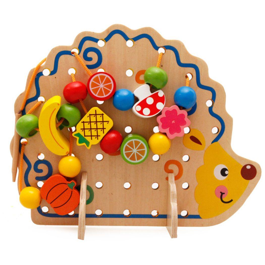 Brinquedos de rosca de madeira hedgehog lacing beads fruit aprendizagem crianças presente educativo macio montessori crianças inteligente