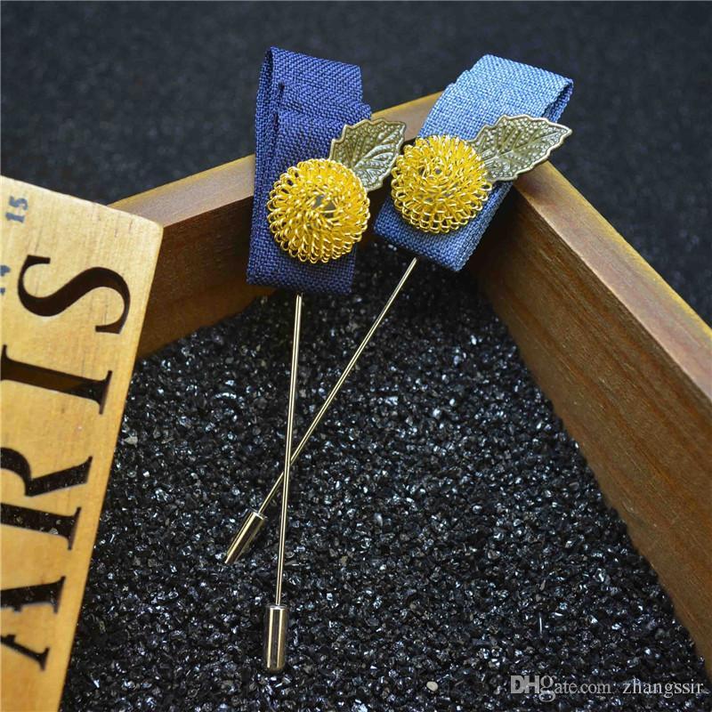 BoyuTe 10 pcs moda tecido broche pinos de alta qualidade banhado a ouro hemisfério bronze folha lapela pin para o terno de casamento boutonniere jóias