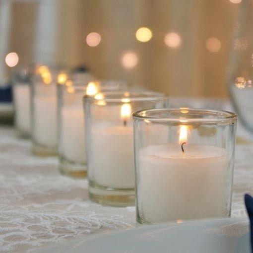 Velas de boda Decoración de la boda Función del lugar de eventos Cera blanca Cristal transparente Sala de bodas Decoración de mesa Vela votiva