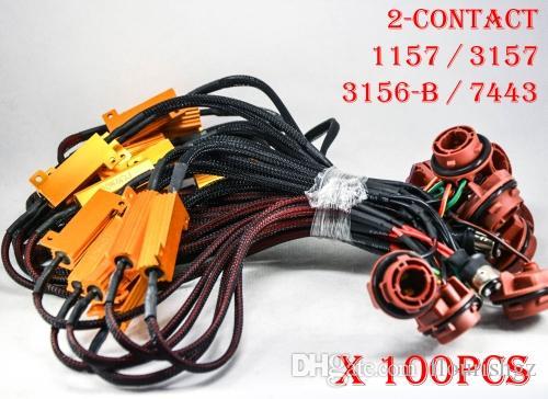 100 PCS 1157 3157 7443 3156-B 50 W 6ohm Fusível de Ouro Lâmpadas LED Fog Turno de Freio carga de Sinal Resistor Fiação Canbus Livre Flash Piscadela Hyper 2-Contato