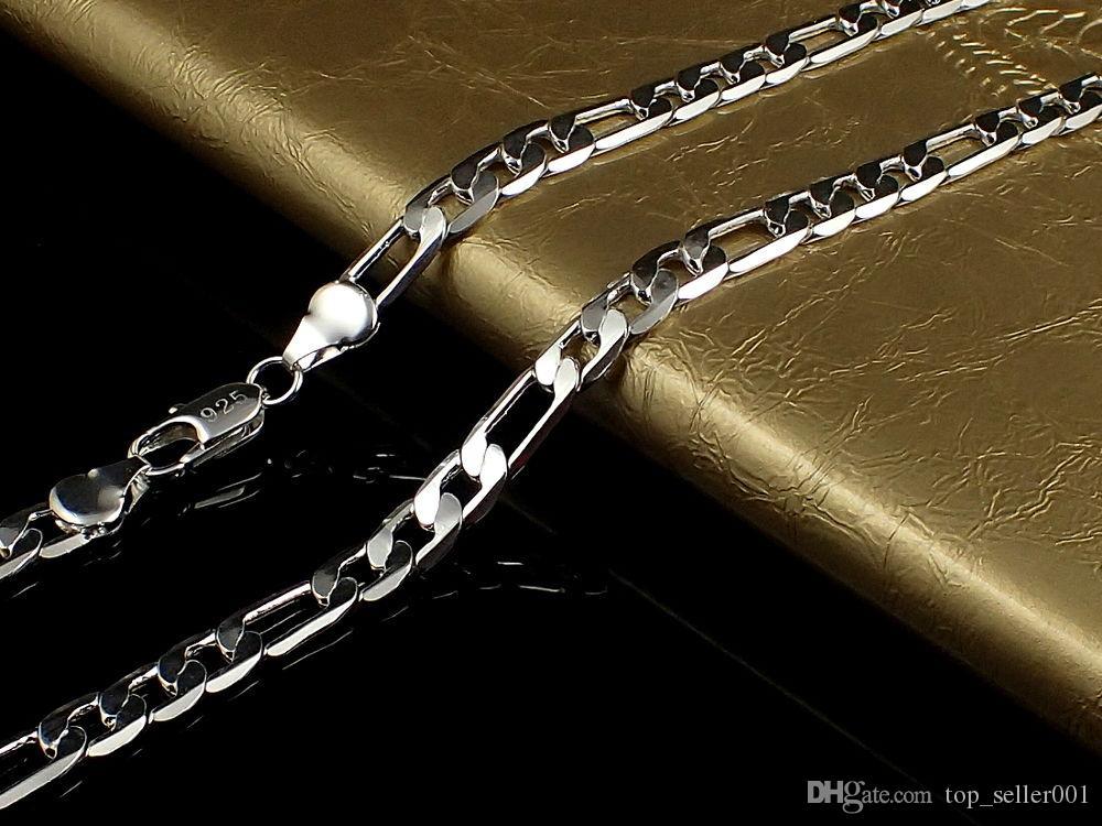 تعزيز بالجملة 2016 pericing الساخنة بيع غرامة 925 الاسترليني والفضة والمجوهرات النساء الرجال شقة جانبية ربط سلسلة قلادة 4MM 16-30 N102 1PC