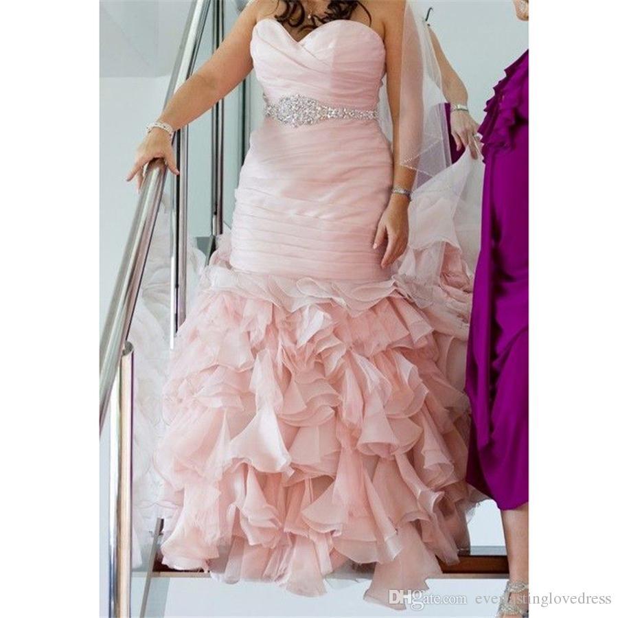 Venta al por mayor Vestidos de novia rosa de talla grande con ...