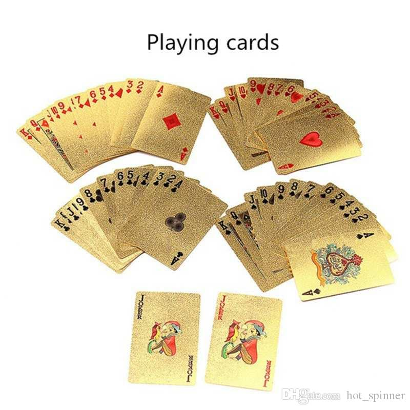 Hot 3 Designs Gold Foil Plated Playing Cards Plastic Poker US dollar / Euro Style / General Style Family Poker Cards