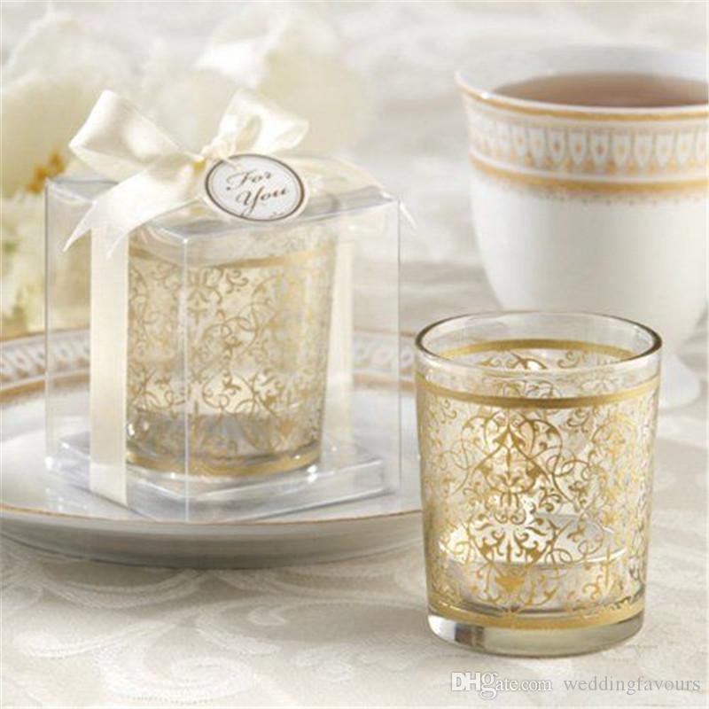 Spedizione gratuita 50 pz forniture per feste golden rinascimentale in vetro supporto di luce di candela portacandele tazza di vetro bomboniere partito tavolo decori