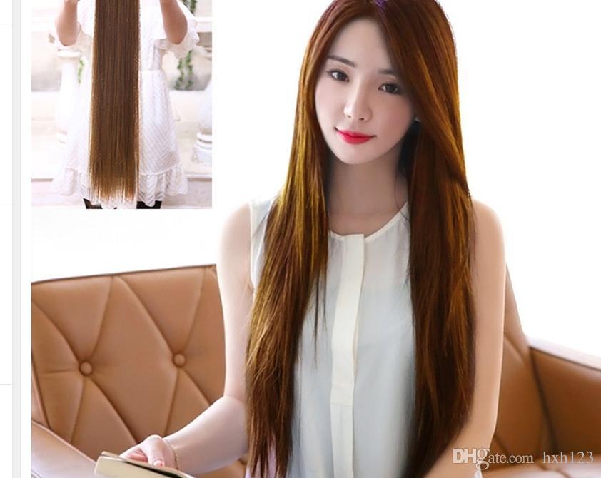 Woman Straight Hair Piece Korean Simulation Long Hair Woman Long Straight Hair L04711 Hair Extensions For White Girls Hair Extensions White Girl From