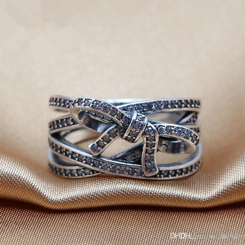 2016 charms rings s925 ale sterling silver luxury butterfly style print carved band rings with The European and American ring box