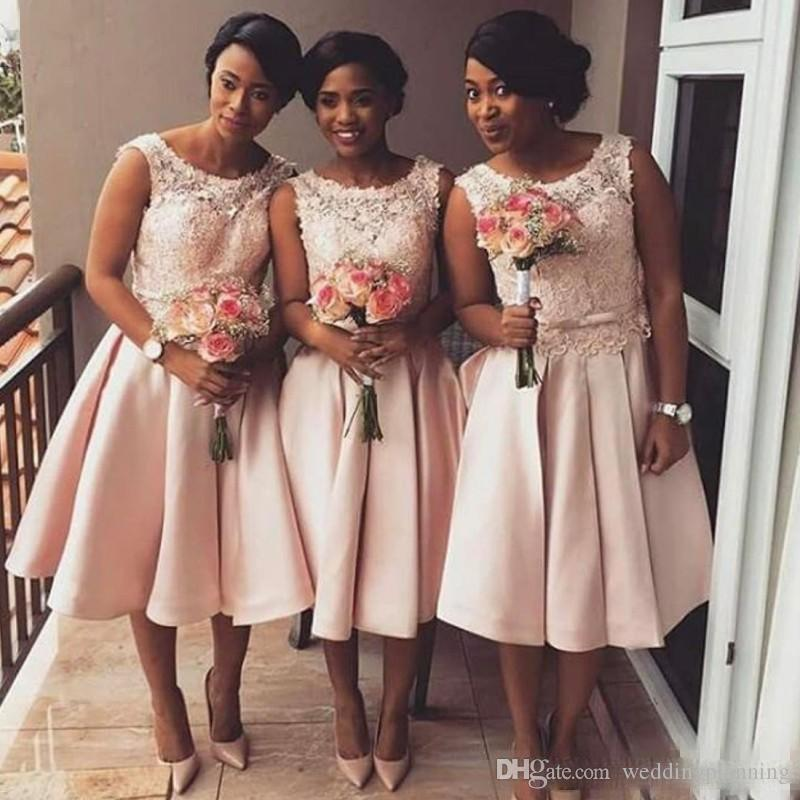 Tea Length Blush Pink Bridesmaid Dresses 2017 African Beach Lace Maid of Honor Gowns Junior Formal Short Wedding Guest Dress
