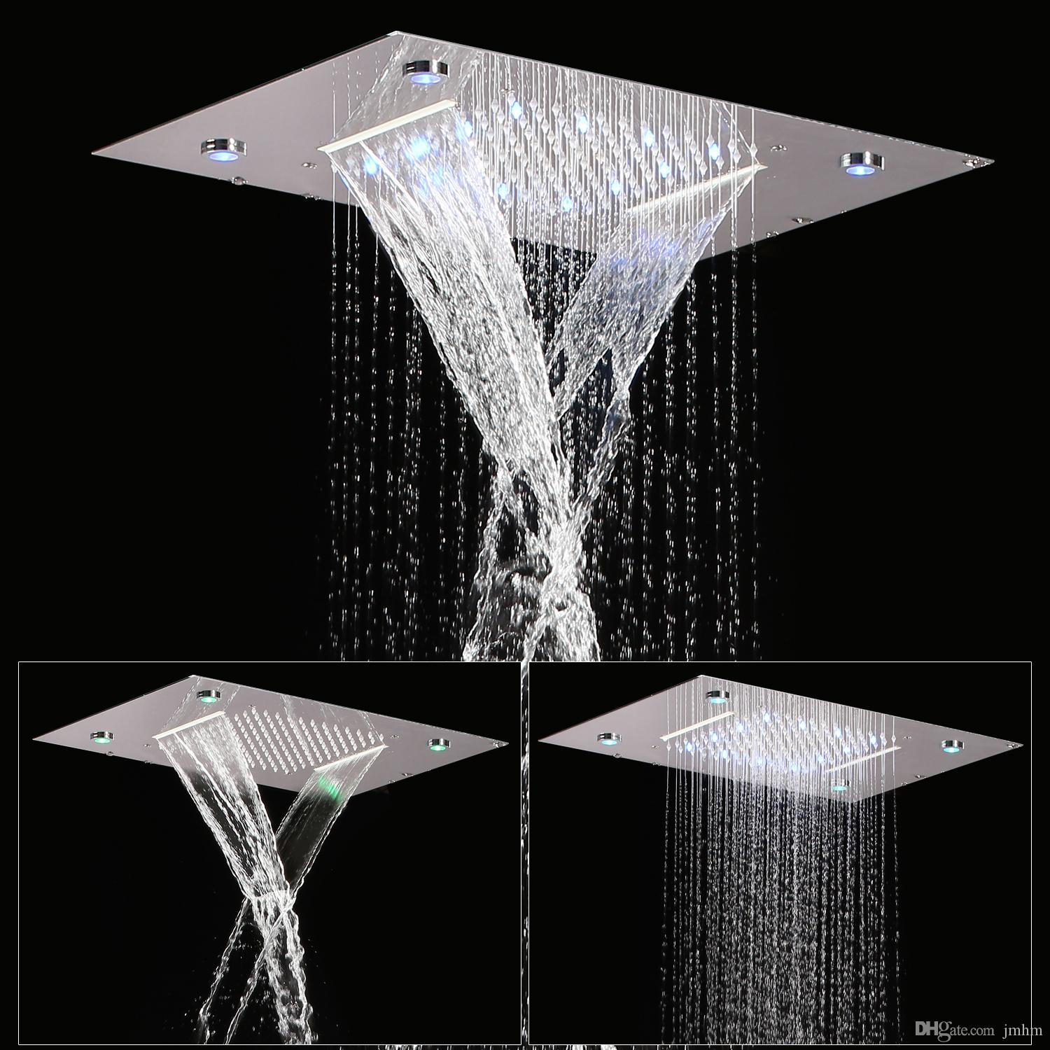 2019 Stainless Steel Ceiling Mount 360x500mm Rainbow Color Rainfall Waterfall Overhead Shower Multi Function Led Shower Panel Massage Spray From Jmhm
