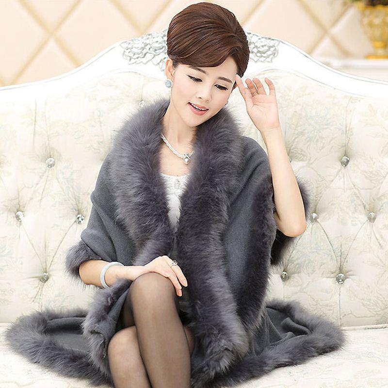 New Fashion Long Wool Cashmere Faux Fox Fur Cape Coat Cardigan Women Poncho Knitted Sweater Women Scarves