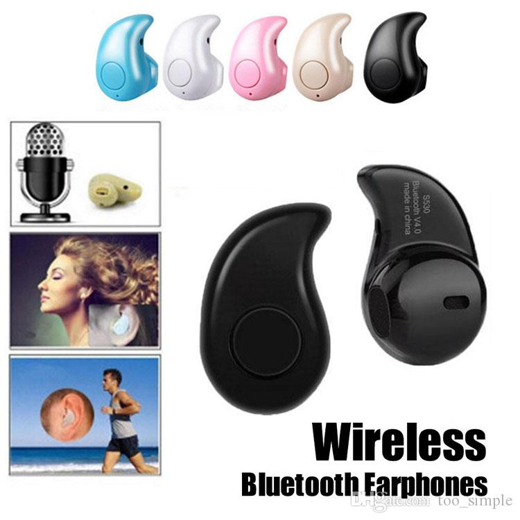 S530 اللاسلكية بلوتوث 4.0 مصغرة سماعات سماعات الموسيقى سماعة الرياضة الجري الشبح مربع التجزئة بالجملة ل iphone7 6 زائد