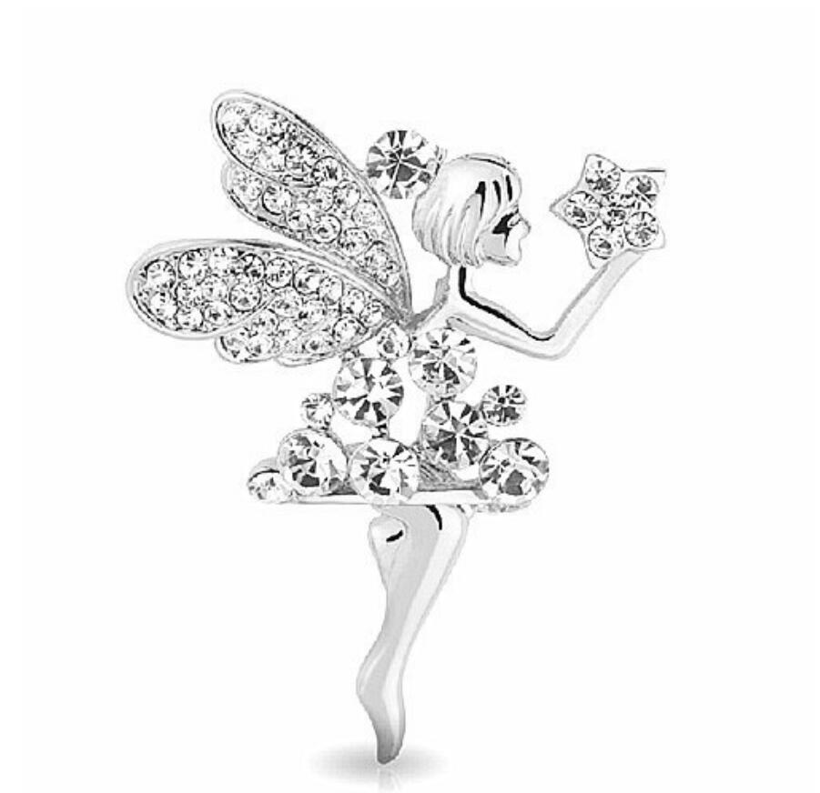 """Rhodium Silver Plated CLear Rhinestone Crystal Fairy Brooch 1.8 """""""