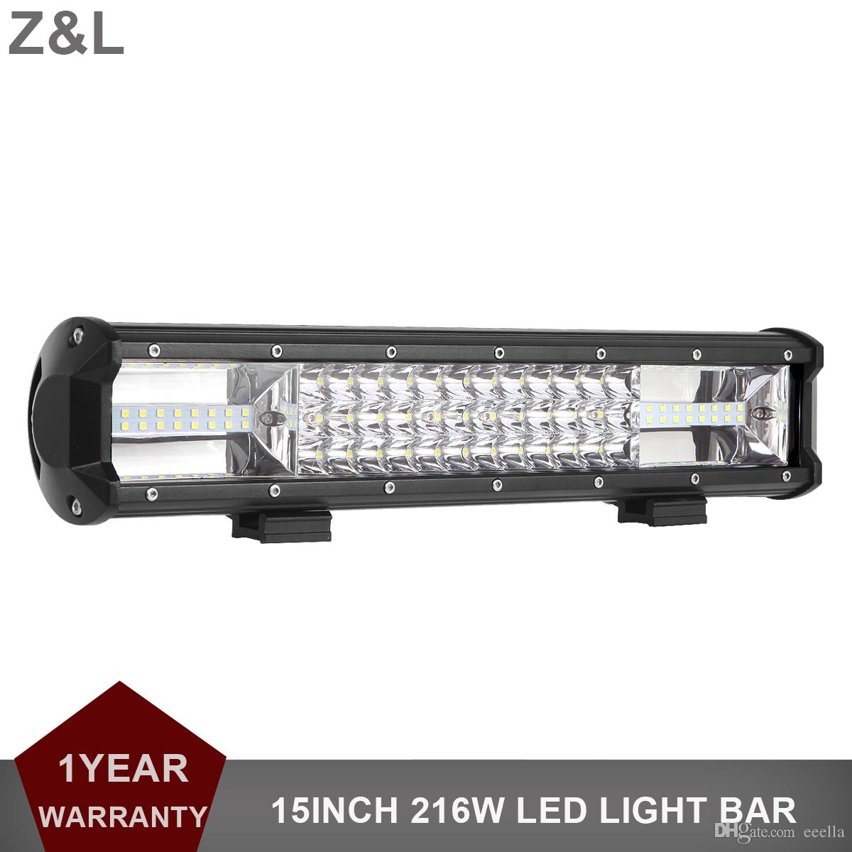 15 Inch Led Light Bar 216w Triple Row 12v 24v Offroad Driving Work Lamp Car Suv Rzr Atv 4x4 Wagon Pickup Truck Trailer Rechargeable Work Lights Led