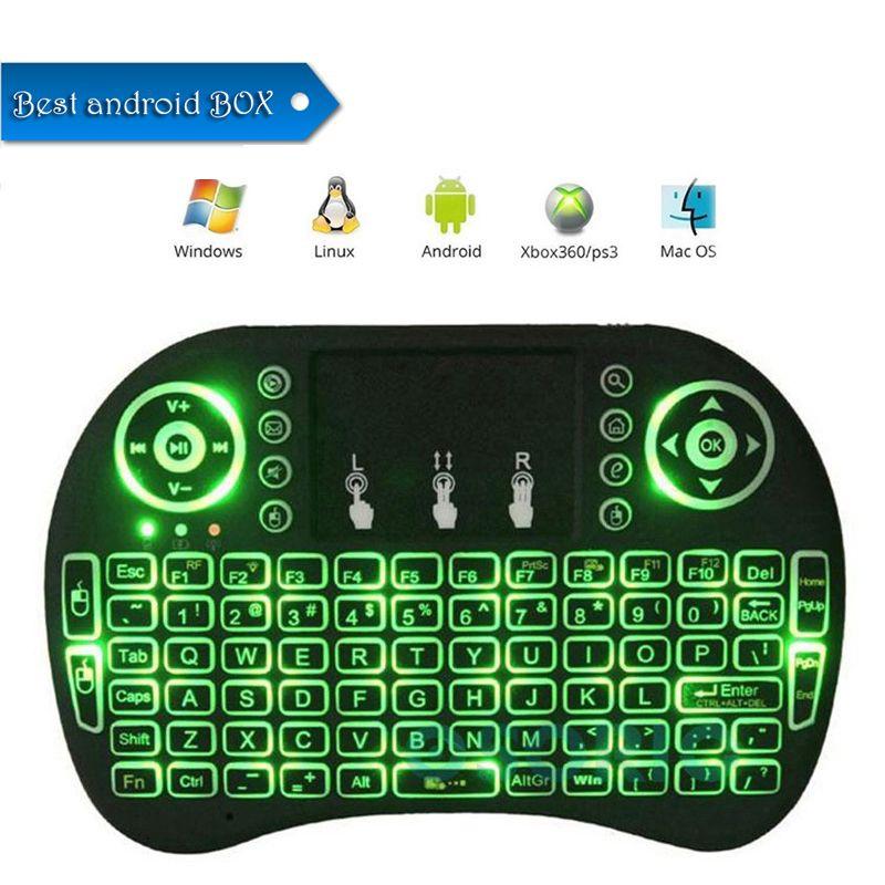 Retroilluminazione colorata Rii i8 Mini Tastiera Wireless Gaming Handheld Air Mouse Telecomando per PC Pad Google Andriod TV Box Xbox360