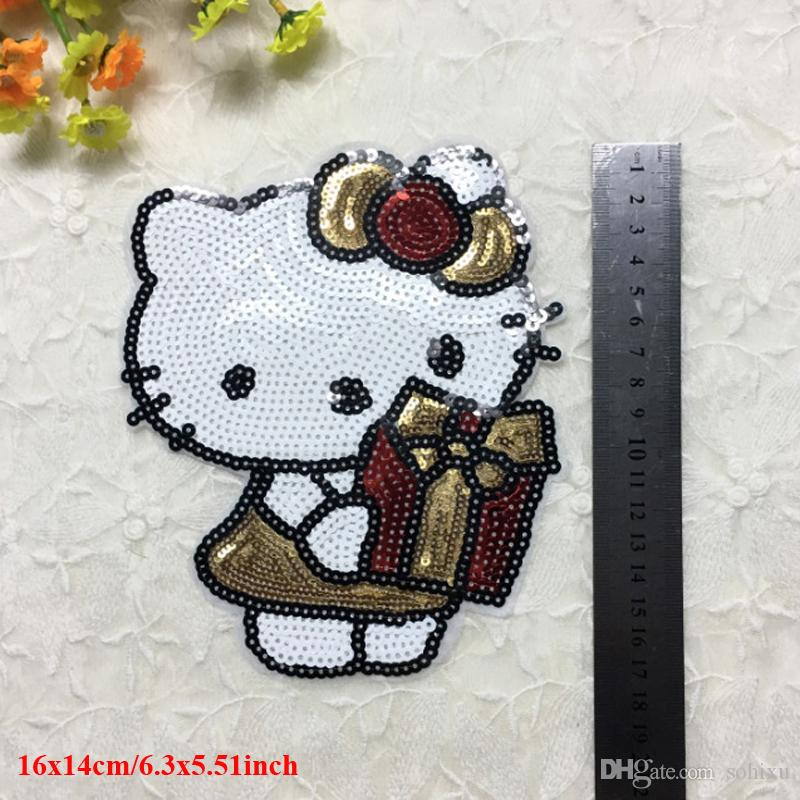 Hello Kitty Patches Iron On Embroidery Applique Patches For Clothes Kids Jacket