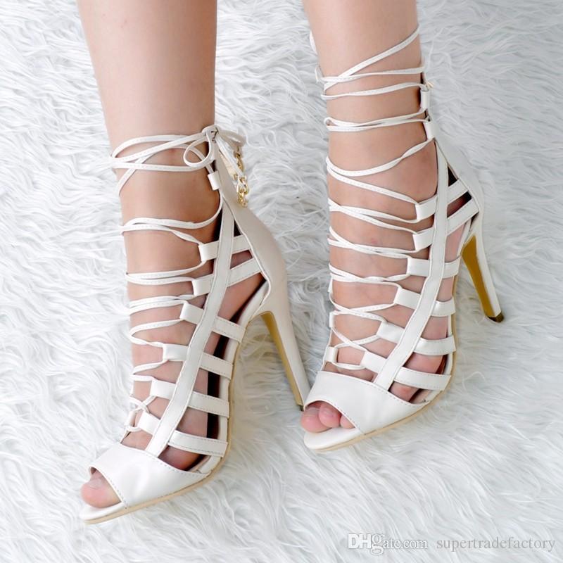 Femme Lacets Gladiateur à Lanières Talons Hauts Bout Ouvert Sandales Chaussures Taille