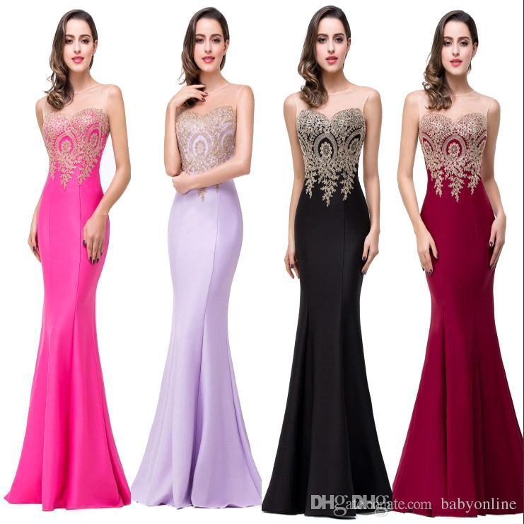 Robe De Soiree 11 Colors Cheap Sexy Mermaid Prom Dresses 2019 Sheer Jewel Neck Appliques Sleeveless Long Formal Evening Dresses CPS262
