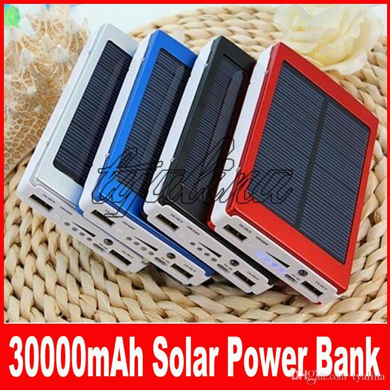 30000 mah chargeur solaire et batterie 30000mAh panneau solaire ports de charge double banque d'alimentation portable pour tous les téléphones portables table PC MP3 10pcs