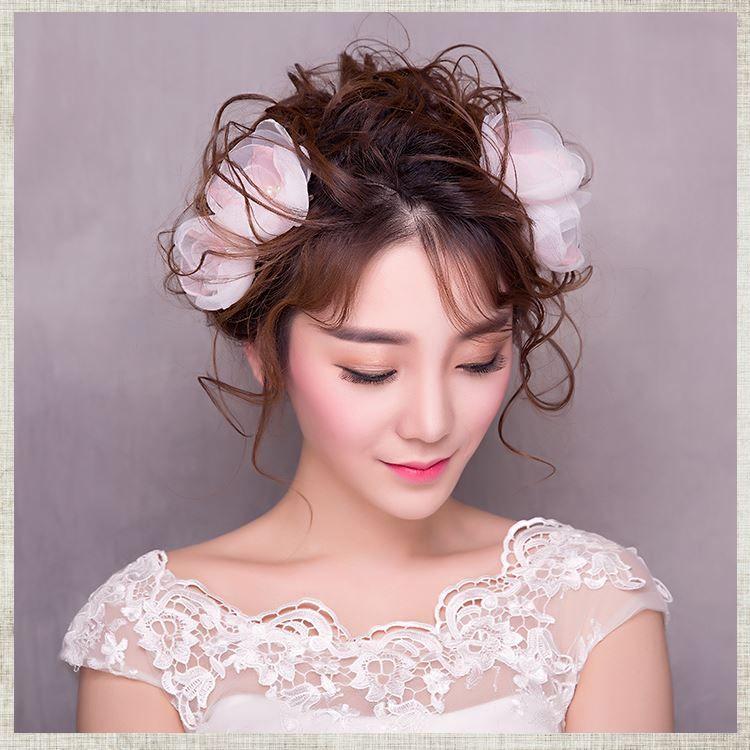 Woman Headdress Hair Lomen Korean Bride Burning Handmade Wedding Dress Hair Headdress Headdress Flower Hairpin 154077 Decorative Hair Pins For Buns