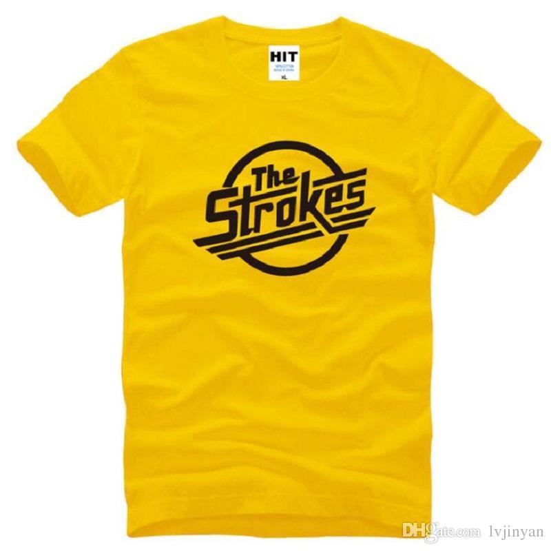 New Designer The Strokes T Shirts Men Cotton Short Sleeve Indie Rock Band Men's T-Shirt British Style Male Music Rock Tee Shirt