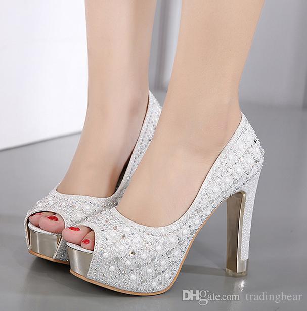 elegant bridesmaid wedding shoes silver crystal rhinestone platform high heels pumps women size 34 to 39