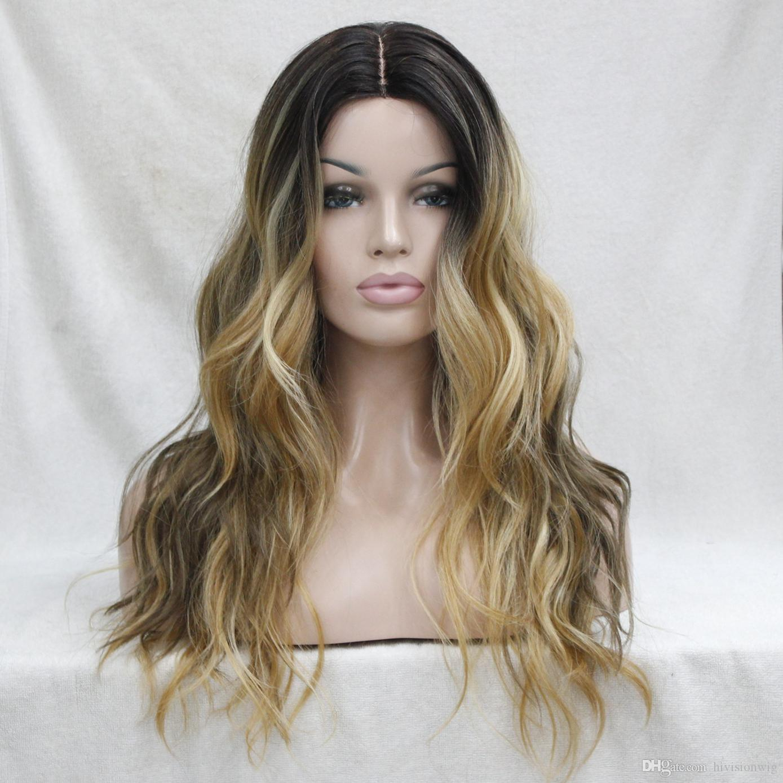 Schneiden Sie nicht Lace Front! Heiße Qualität Ombre Darkest Brown Mix goldene blonde gewellte kleine Spitze vorne lange Perücke