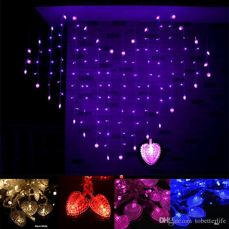 Led cortina luzes 110 v 220 v branco quente vermelho atacado corações roxos em forma de LED String luz para decoração de festa de casamento de Natal