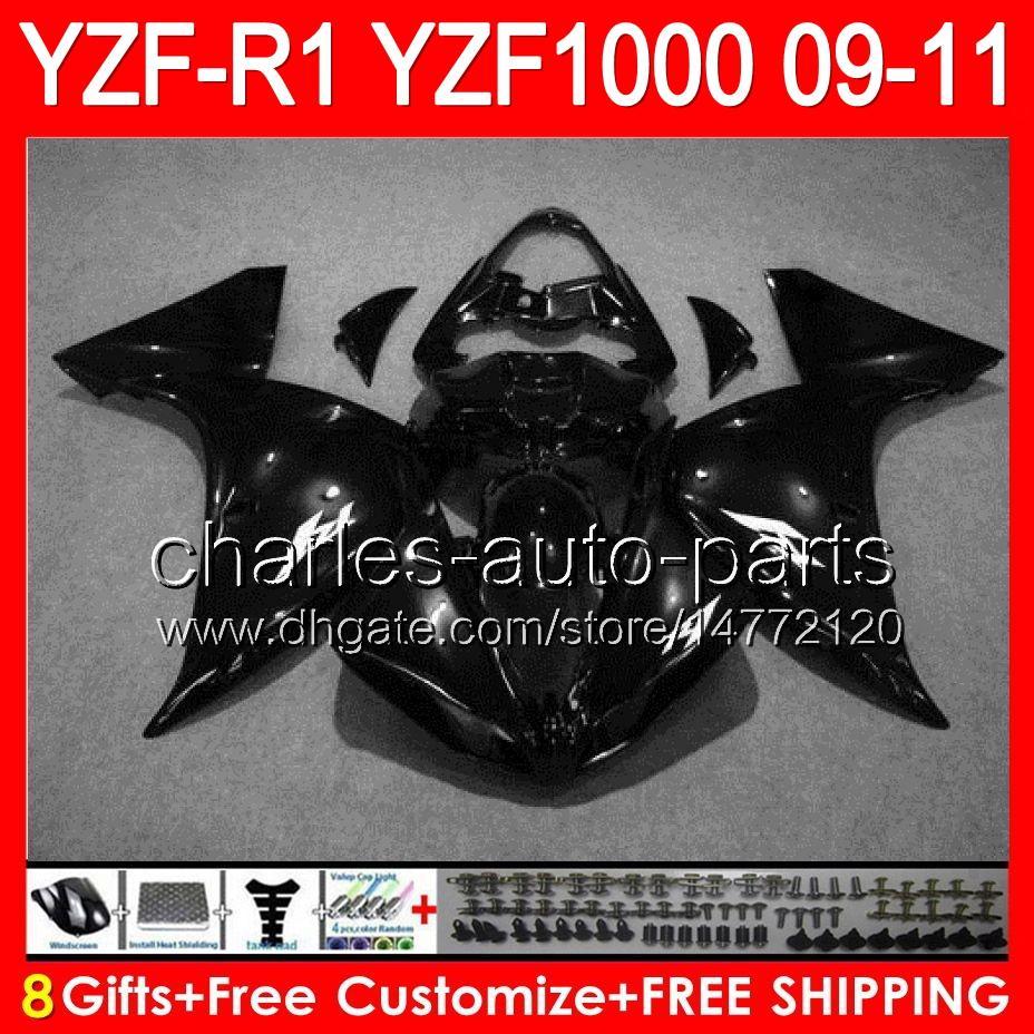 gloss black 8gifts Body For YAMAHA YZFR1 09 10 11 YZF-R1 09-11 95NO85 YZF 1000 YZF R 1 YZF1000 YZF R1 2009 2010 2011 glossy black Fairing