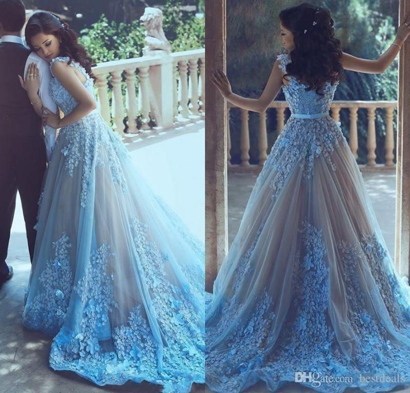 Himmel blau 3D Blume Arabisch Frauen Prom Kleider mit Taille Schärpe Formale 2017 Abend Party Kleid Lange Tüll Juwel Hals Vestido de Festa