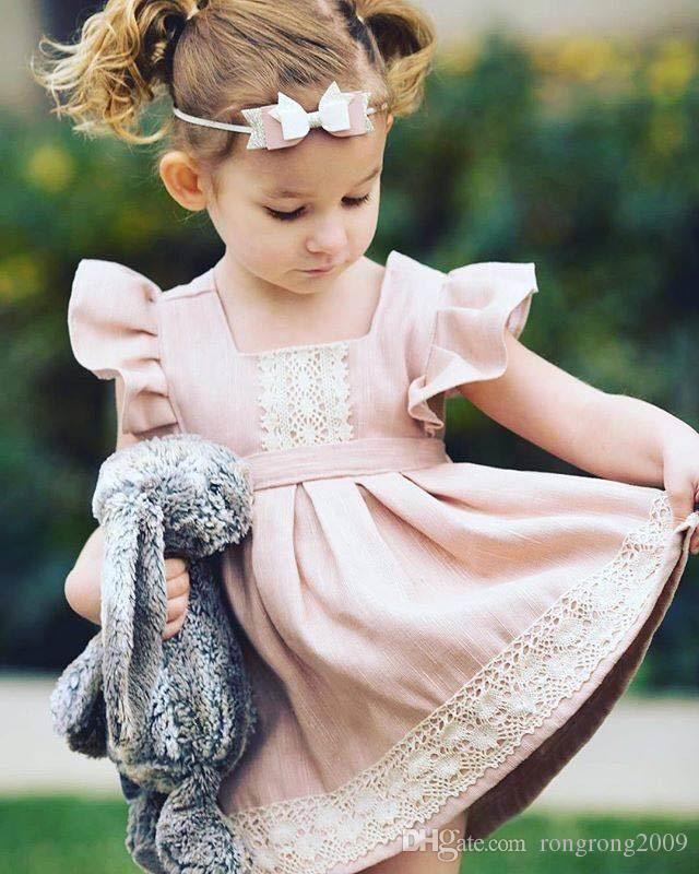 Retail Ins 2017 Estate New Girl Dress Dress Dress Rosa Lace Flare Sleeve Cotton Princess Mini Dress Bambini Abbigliamento 1-6Y EG003