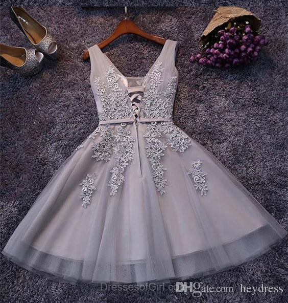 Compre Vestidos De Cóctel De Color Gris Plateado Para Mujer 2017 Real Image Vestido De Baile Corto Atractivo De Apliques Tulle A Line Vestidos De