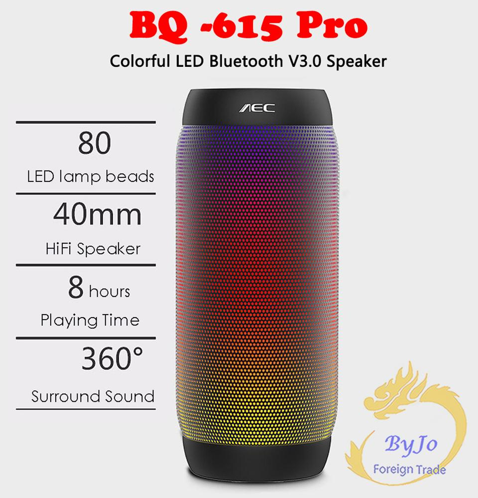Pulse Speaker BQ-615 Portable Dancing Colorful LED Bluetooth V3.0 Speaker with Flashing Lights 3.5mm Audio Port Support TF Card FM Radio